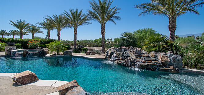 Beautiful outdoor custom swimming pool and spa.